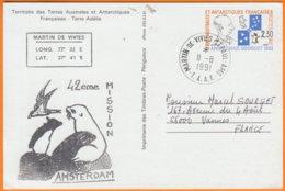"""T.A.A.F.   Entier Amiral Max Douguet Cachet MARTIN De VIVIES """"  AMSTERDAM 42eme MISSION """" Le II 8 1991 Pour 56000 VANNES - Entiers Postaux"""