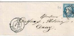 TP N°60 Seul Sur Lettre De Granville Pour Ducey Avec Cad Type 17 Et Losange GC 1706 - Poststempel (Briefe)