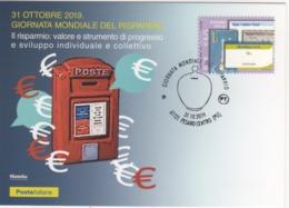 Italia 2019 Pesaro Giornata Mondiale Del Risparmio Annullo Cartolina Dedicata - Münzen