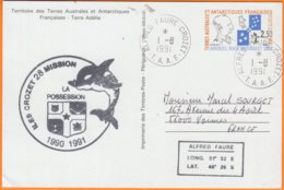 """T.A.A.F.   Entier Amiral Max Douguet Cachet Alfred Faure Crozet  """" LA POSSESSION """"    Le 1 8 1991 Pour 56000 VANNES - Entiers Postaux"""