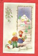 """CP """"Bonne Année"""" Enfants Cadeaux ,paysage ,houx Champignons ,dorures  Illustrateur Barnini - Nouvel An"""