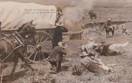 'Perils Of The Plains 1852' Old West Theme, Indians & Settlers Gun Battle, C1900s Vintage Martin Real Photo Postcard - History