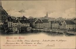 Cp Basel Schweiz, Blick Auf Die Stadt, Konditorei - BS Bâle-Ville