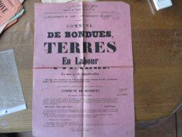 BONDUES LE JEUDI 22 JANVIER 1852 ADJUDICATION DE TERRES EN LABOUR AU CANTON DIT LE BEL-ARBRE 43cm/31cm - Affiches