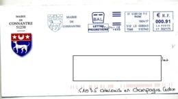 Lettre Flamme Ema Saint Gibrien Mairie Connantre Entete Concordante Theme Chien - Poststempel (Briefe)