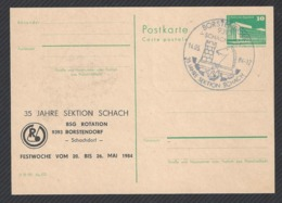Chess, DDR Borstendorf, 14.05.1984, Cancel & Cachet On Card, 35th Anniversary Of Chess Section - Scacchi