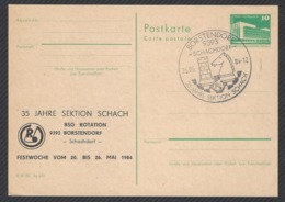 Chess, DDR Borstendorf, 25.05.1984, Cancel & Cachet On Card, 35th Anniversary Of Chess Section - Scacchi