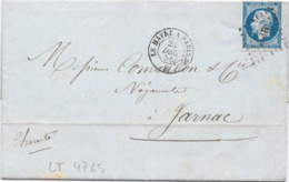 LT4765  Variété/n°14A/lettre Avec Courrier, Oblit Losange HP2° Des Ambulants Du 23 Dec 1856, Bonnes Marges - 1853-1860 Napoléon III