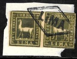532 - PERU - 1873 - PAIR - CUDE FORGERIES - LIMA CANCEL - FALSES, FALSCHEN, FAKES, FALSOS - Collections (sans Albums)