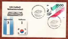 Beleg, Fussball-Weltmeisterschaft Mexico, SoSt Argentinien-Suedkorea, 1986 (82163) - Mexiko