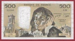 "500 Francs ""Pascal"" Du 07/06/1979.A----XF/SUP+---ALPH.J.98------- 2 TROU D EPINGLE - 500 F 1968-1993 ''Pascal''"