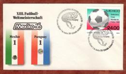 Beleg, Fussball-Weltmeisterschaft Mexico, SoSt Mexico-Paraguay, 1986 (82167) - Mexiko