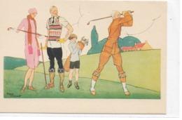 CARD GOLF FAMIGLIA GOLFISTA  FIRMA RENE' VINCENT  2 SCANNER  - FP-N-2-   0882- 29244-45 - Golf