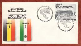 Beleg, Fussball-Weltmeisterschaft Mexico, SoSt Belgien-Mexico, 1986 (82170) - Mexiko