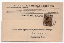 1929 YUGOSLAVIA, SERBIA, CORRESPONDENCE CARD, VALJEVO POST SAVINGS BANK,VALJEVO TO BELGRADE - 1931-1941 Kingdom Of Yugoslavia
