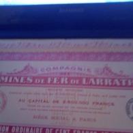 MINES DE FER DE LARRATH ACTION N°2584 TIRAGE 12500 TRES BON ETAT AVEC TOUS LES COUPONS - Mijnen
