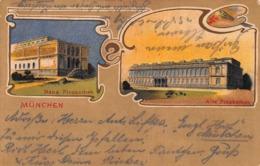 MUNCHEN MUNICH GERMANY~NEUE PINAKOTHEK & ALTE PINAKOTHEK 1908 ARTIST PALETTE ORNATE BORDER POSTCARD 42328 - München