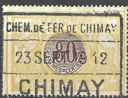 P0.48: CHIMAY 23 SEPT 19 12: Privé-lijn: Chemin De Fer De CHIMAY:  3 Raamstempel:  N°TR39 - Bahnwesen