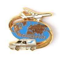 Pin's CHRONOPOST - Camionnette Et Avion - Globe Terrestre - Zamac - Arthus Bertrand - I740 - Arthus Bertrand