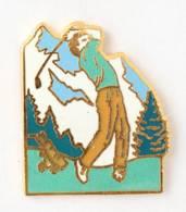 Superbe Pin's  GOLFEUR Sur Paysage De Montagne - Alpes Trophées - I759 - Golf