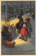 FROHLICHE WEIHNACHTEN ~ CHILDREN VIEW CHRISTMAS SCENE ~ PAULI EBNER ARTIST 1937 AUSTRIAN POSTCARD 42393 - Ebner, Pauli