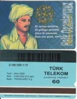 TURKEY - Halk Ozanlarimiz/Yunus Emre(60 Units, Transvaro), 10/00, Used - Turquie