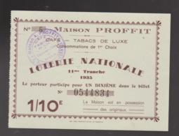 ANCIEN ET RARE BILLET DE LOTERIE MAISON PROFFIT ST QUENTIN 11eme Tranche 1935 1/10eme Vert & Marron 14 X 10,5 CM - Loterijbiljetten