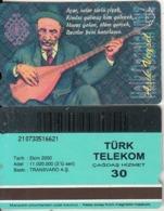 TURKEY - Halk Ozanlarimiz/Asik Veysel(30 Units, Transvaro), 10/00, Used - Turquie