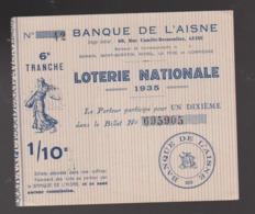 ANCIEN ET RARE BILLET DE LOTERIE NATIONALE Banque De L'Aisne GUISE  6eme Tranche 1935 1/10eme 14 X 12 CM - Loterijbiljetten