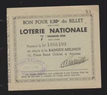 ANCIEN ET RARE BILLET DE LOTERIE NATIONALE Banque Melinot AMIENS   7eme Tranche 1935 1/10eme 11 X 12 CM - Loterijbiljetten