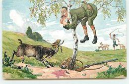 N°13781 - Chasse - Chasseur Dans Un Arbre Pour Se Protéger D'une Chèvre Le Chargeant - Hunting