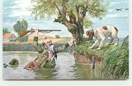N°13782 - Chasse - Chasseur Avec Un Canard Dans La Bouche Sortant De L'eau - Caza
