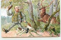 N°13784 - Chasse - Chasseur Courant Devant Un Cerf - Hunting