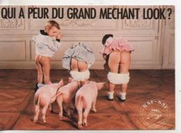 Cpm.publicité.Naf-Naf.Le Grand Méchant Look.trois Enfants De Dos Fesses Nus Et Cochons. - Publicité