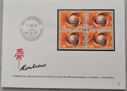 1965 Converence De Plenipotentiares Beleg Viererblock 1820 Montreux - Covers & Documents