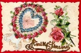 -- CPA / AMITIE SINCERE / DECOUPIS ET AJOUTIS / Roses Muguets Coeur Ruban -- - Autres