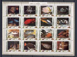 Umm Al Qiwain 1972 Fishes Sheetlet Of 16 Stamps MNH - Fische