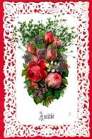 -- CPA / AMITIE / CANIVET AVEC DECOUPIS  ET AJOUTIS  / BOUQUET DE ROSES Et PLANTES SECHEES -- - Autres