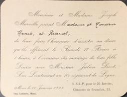Mons Invitation Au Mariage 1923. - Documents Historiques