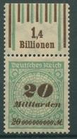 Deutsches Reich Inflation 1923 Walzen-Oberrand 329 A W OR 1'4'1/1'5'1 Postfrisch - Deutschland