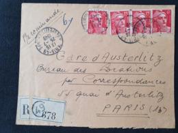 PARIS 49 - 26 Juillet 1949 - Au Dos En Arrivée Cachet PARIS XIII- Gandon YT 813 721 - Marcophilie (Lettres)