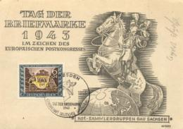 Germany Reich 1943 Mi. 828 MC CM Maximum Card Dresden 10-Jan-1943, Postal Coach, Tag Der Briefmarke, Postkongress - Germany