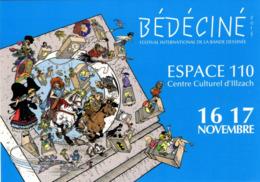 BEDECINE 2019 ILLZACH Ph. LUGUY : Carte Postale Affiche Label Alsacienne Astérix Tintin Percevan Tanguy Mirage Hendrix - Fumetti