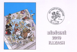 BEDECINE 2019 ILLZACH Ph. LUGUY : Carte Postale Cachet Affiche Label Alsacienne Astérix Tintin Percevan Tanguy Hendrix - Fumetti