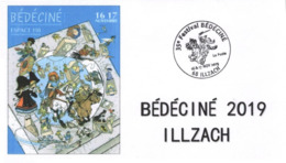BEDECINE 2019 ILLZACH Ph. LUGUY : Enveloppe Cachet Affiche Label Alsacienne Astérix Tintin Percevan Tanguy Hendrix - Fumetti