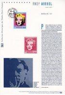 """"""" MARILYN MONROE / WARHOL """" Sur Document Philatélique Officiel De 2003 N° YT 3644. (Prix à La Poste = 5.00 €) - Cinéma"""