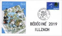 BEDECINE 2019 ILLZACH Ph. LUGUY : Enveloppe Cachet FDC Affiche Label Alsacienne Astérix Tintin Percevan Tanguy Hendrix - Fumetti