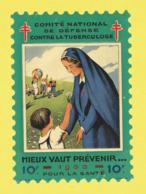 Timbre Antituberculeux Grand Format  Timbre Auto-vitrine à 10 Frs Mieux Vaut Prévenir Enfant Offrant Une Fleur à Une - Commemorative Labels