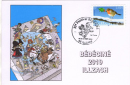 BEDECINE 2019 ILLZACH Ph. LUGUY : Carte FDC + Cachet Affiche Festival Tintin Astérix - Fumetti