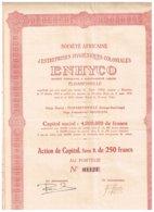 Société Africaine D'Entreprises Hygiéniques Coloniales ENHYCO - Sté Congolaire à Responsalité Limitée - Titre De 1928 - Afrika